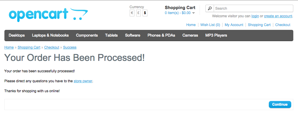 Checkout processed done
